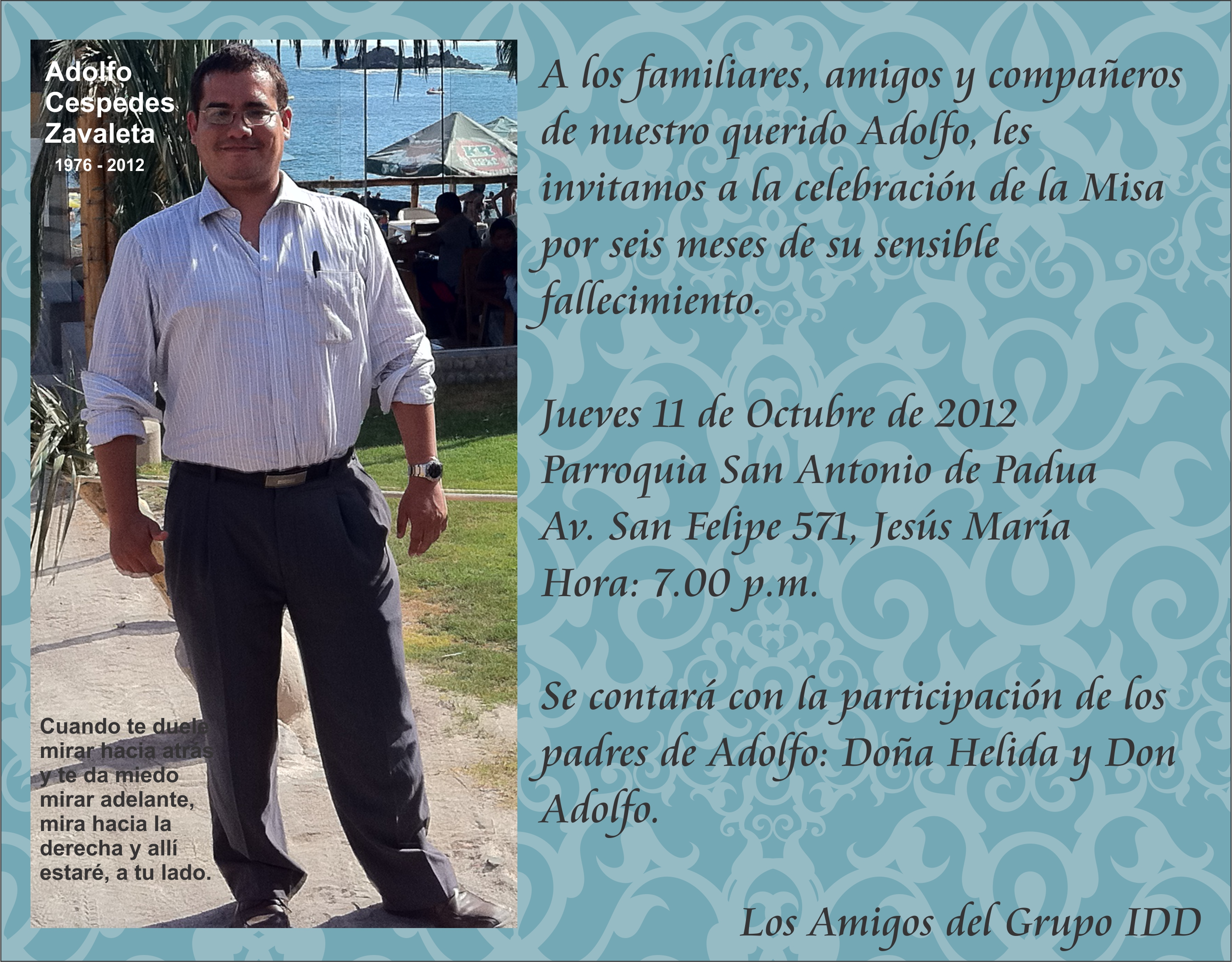 la misa en memoria de Adolfo Céspedes Zavaleta en la parroquia de