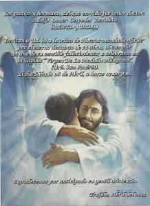 Invitación a la misa de año de Adolfo Céspedes Zavaleta. Trujillo, 6 de abril de 2013.